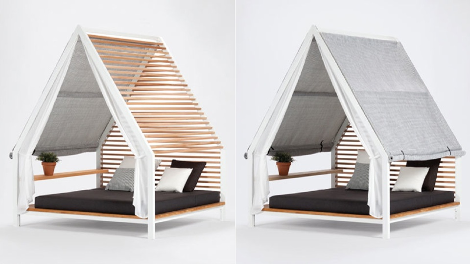 adjustable slats make this outdoor bed good for spring and
