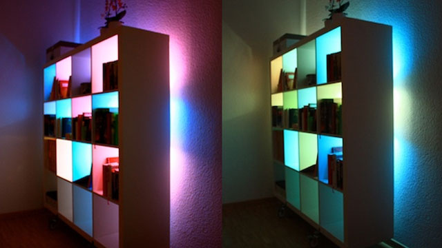 Beautify Your Bookcases with Custom Color Changing Lights