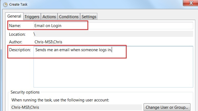 Use Windows Task Scheduler to Get Email Notifications When Someone Logs Into Your Computer