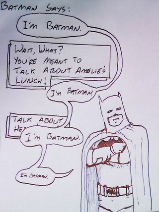 Father draws his daughter silly superhero cartoons to convince her to eat her lunch