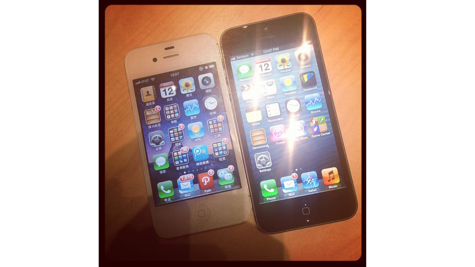 A Real Life Photo of the iPhone 5 Compared to the iPhone 4S
