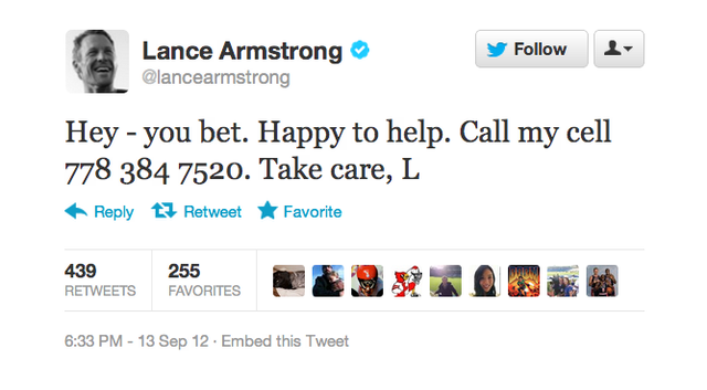 Why Did Lance Armstrong Tweet Out The Cell Phone Number Of Some Random Canadian Dude?