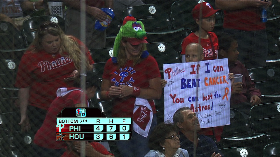 "Kid's Sign At Phillies Game: ""If I Can Beat Cancer, You Ca…"