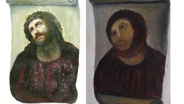 Little Old Lady Behind 'Beast Jesus' Fresco Says Church Owes Her Money for Turning It Into Tourist Attraction