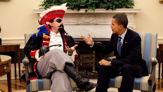 Fox & Friends Falsely Accuses Obama of Snubbing Israeli Prime Minister to Meet with Man Dressed Like a Pirate