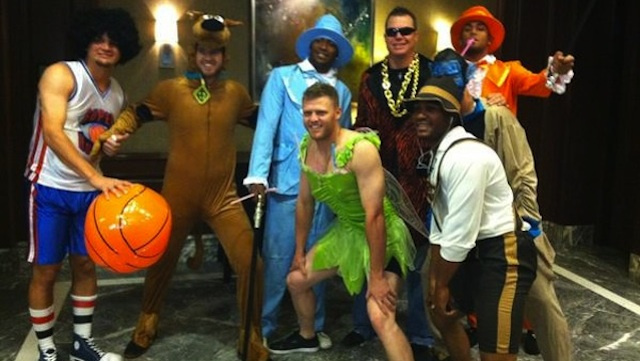 Chipper Jones Tries To Disguise How Fat He Is By Dressing As A Rookie Being Hazed