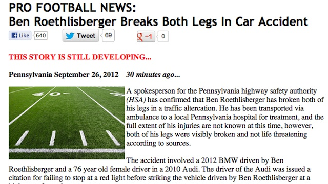 Hoax Website Fools Reporters Into Thinking Ben Roethlisberger B…