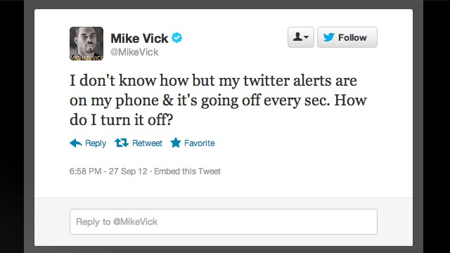 Could Somebody Please Show Michael Vick How To Use Twitter On His Phone?