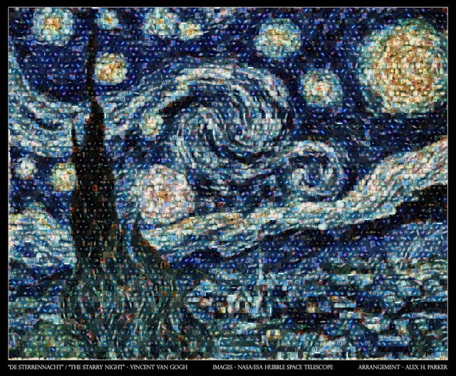 Vincent Van Gogh's Starry Night Recreated Entirely Out Of Real Galaxy Images