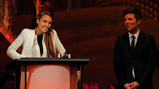 Adam Scott Admires Jessica Alba's Poise While Enjoying a Butterscotch Hard Candy