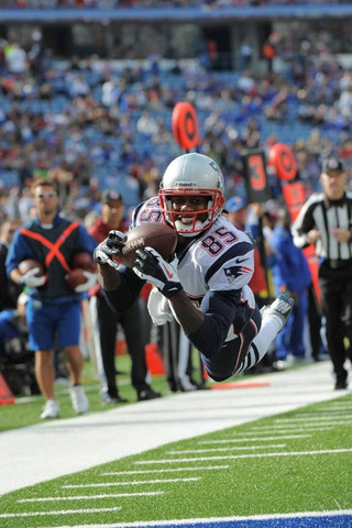 Here's Brandon Lloyd Smiling For The Camera While Diving For A Touchdown