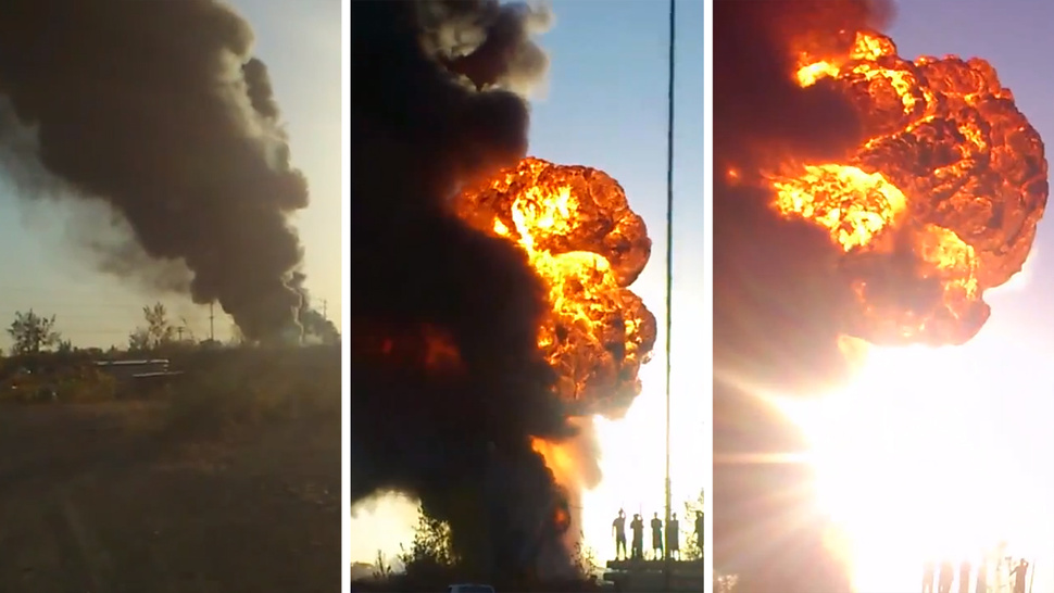 This Crazy Explosion Is What Happens When A Factory Full Of Race Fuel Catches On Fire