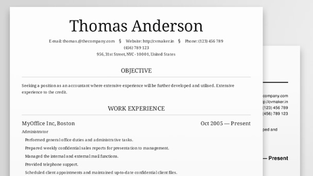 Cv maker creates beautiful resumes online for free for Create professional cv