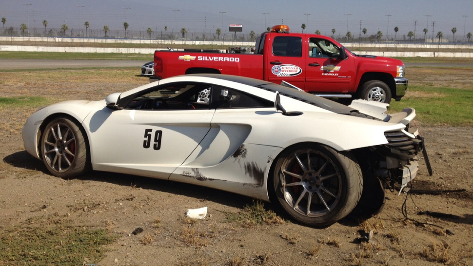 Concrete Wall 1, McLaren 0 After Crash At California's Auto Club Speedway