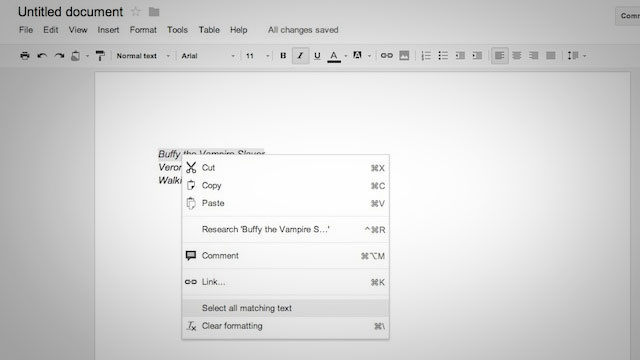 Instantly Select Text with Similar Formatting in Google Docs