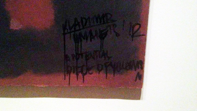 Ass Clown Defaces Rothko Mural, Says He Did the Work a Favor