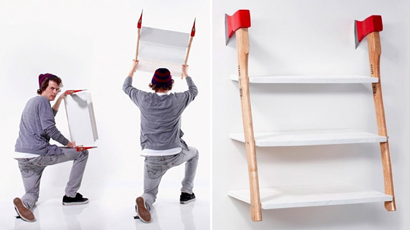 Installing This Axe Shelf Looks Incredibly Easy And Dangerous