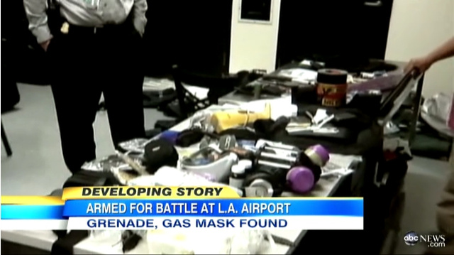 Body Armor-Wearing Passenger Stopped at LAX with Suitcase Full of Weapons and Body Bags