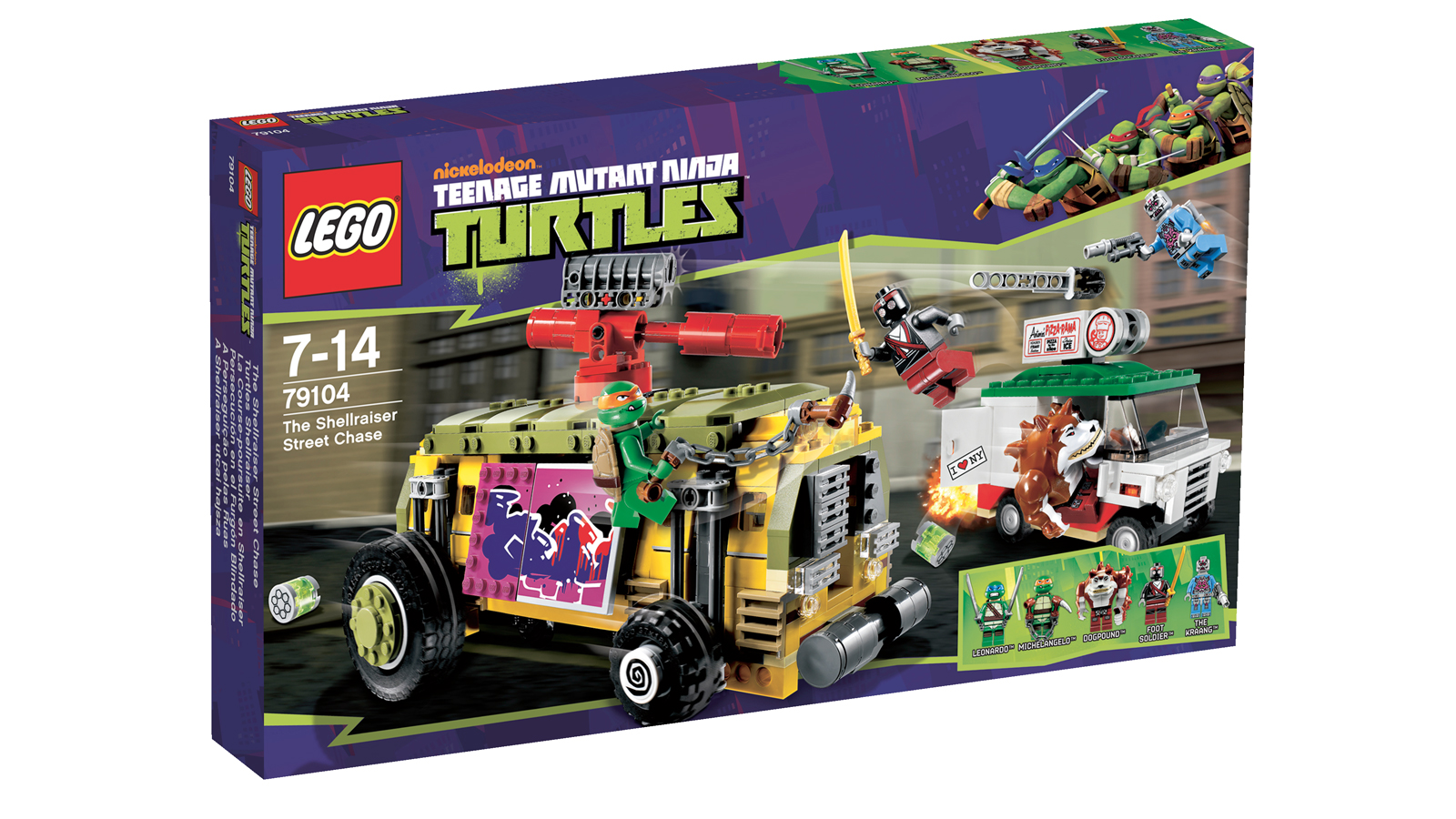 a pizza truck and five mini figures among them donatello and michelangelo you will have to wait for leonardo and raphael in future sets which sucks