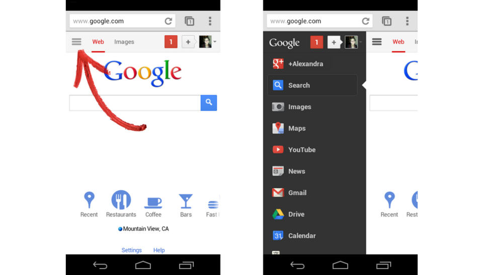 Google's Mobile Homepage Now Has a Facebook-Style Sidebar