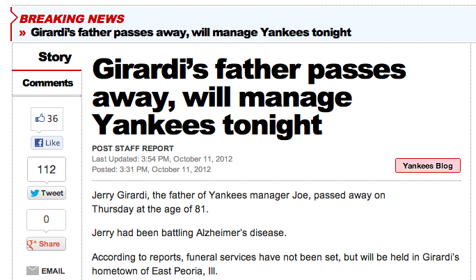 Girardi does his best through triumph, tragedy