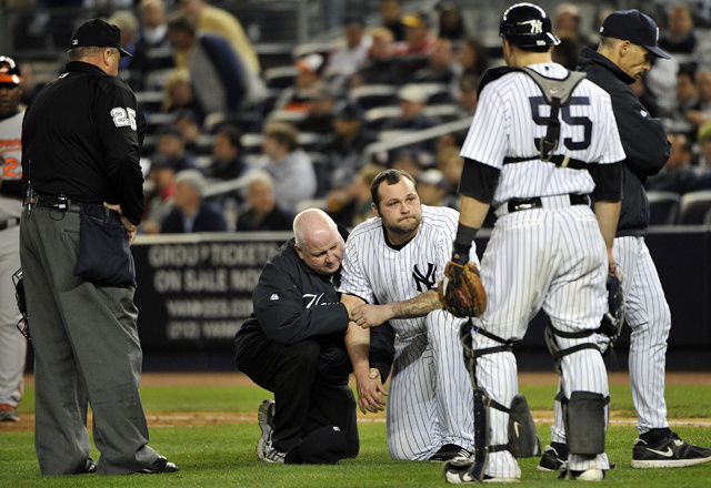 Joba Chamberlain Left Tonight's Game After Getting Nailed By A Flying Bat Shard