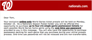 After One Of The Most Excruciating Losses In Postseason History, The Nationals Sent Their Fans A Ticket Presale Notice For The World Series