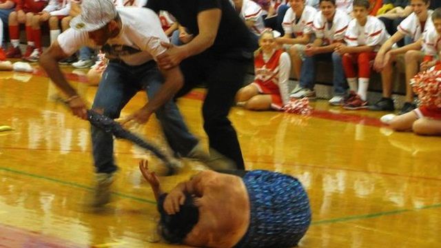 World's Worst Pep Rally Features Blackface Re-enactment of Chris Brown Beating Rihanna