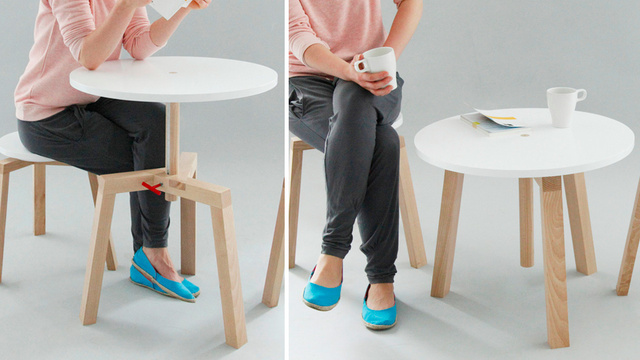 Space Saving Dining Set Adjusts to Any Height You Like