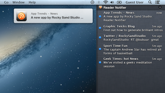Reader Notifier Turns OS X's Notification Center into a Feed Reader