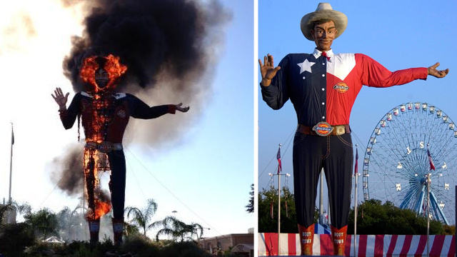 Friendly Texas Icon Turns Into Terrifying Colossal Flame Monster As It Is Destroyed