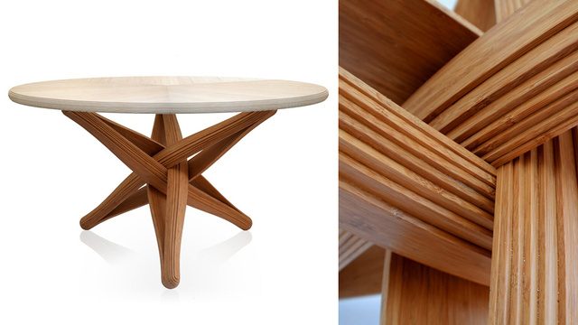 This Beautifully Engineered Bamboo Table Holds Itself Together With Ingenuity