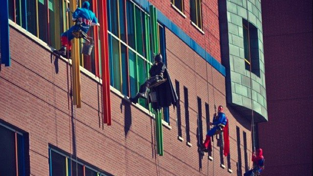 Captain America, Batman, Superman and Spidey adorably storm a children's hospital