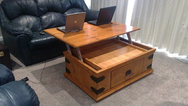 Hack Your Coffee Table To Add A Lift Up Top Lifehacker