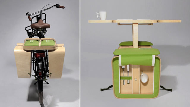 Basket Pannier Straps a Portable Picnic Table To Your Bike