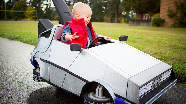 Click here to read This Awesome Baby's Marty McFly Costume and DeLorean Push Car Is Absolutely Adorable