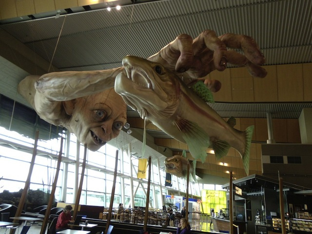 Giant Gollum sculpture goes fishing in the Wellington Airport