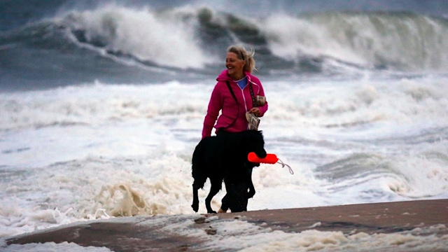 Fearless Dog Conquers Frankenstorm, Is Rewarded with Floaty Toy