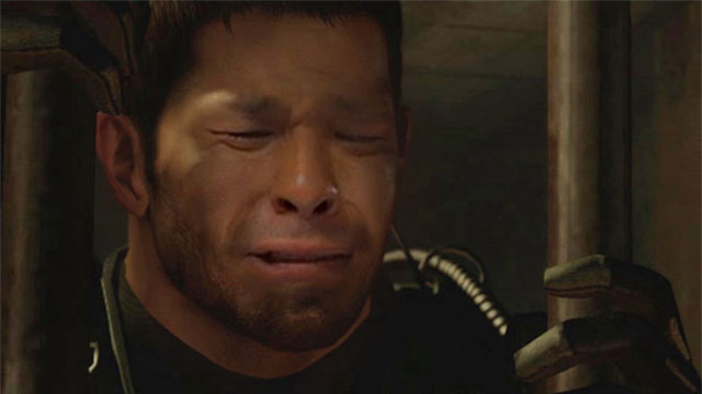 Resident evil character turned into a sad faced japanese meme