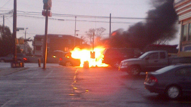 Coney Island Car Explodes Behind Reporter
