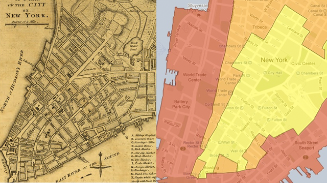 Manhattan's Sandy Evacuation Zones Match Up With the Island's Original Coastline
