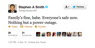 "Stephen A. Smith To Babe: ""Family's Fine...Nothing But A Power Outage"""