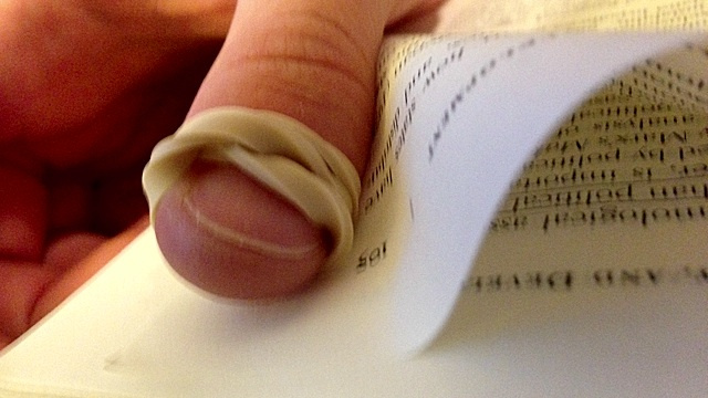 Wrap A Rubber Band Around Your Thumb For Easy Paper Sorting