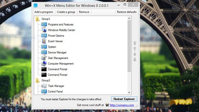 Win+X Menu Editor Customizes One of The Most Important Features of Windows 8