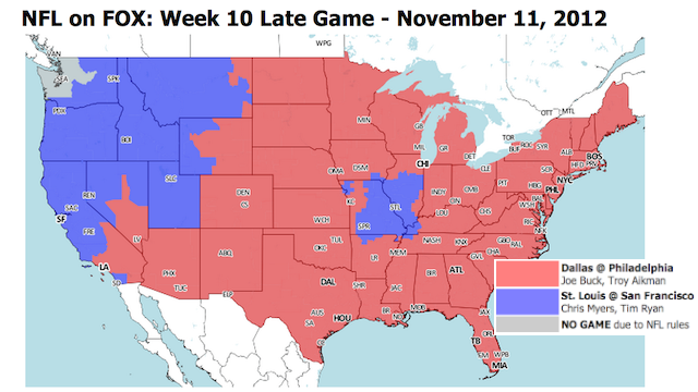 Which TV Market Is Getting Screwed This Sunday? An Analysis Of Week 10 NFL Viewing Maps