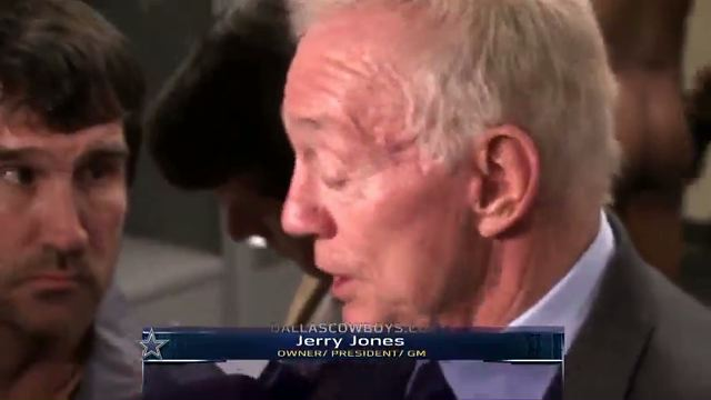 Jerry Jones Spoke To Reporters In Front Of A Big Naked Cowboy A…