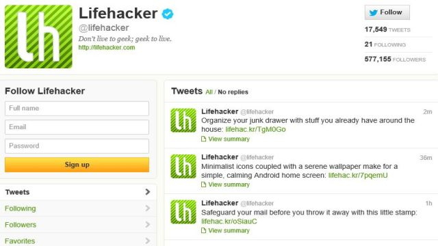 Follow Lifehacker on Twitter to Get All Our Stories Right in Your Feed