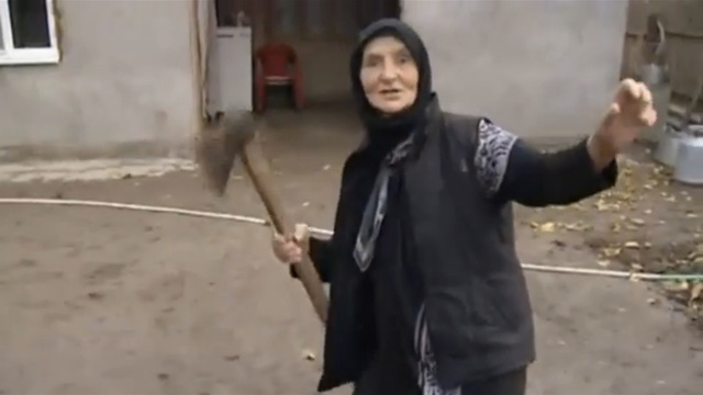 Russian babushka slays wolf with axe, bare hands