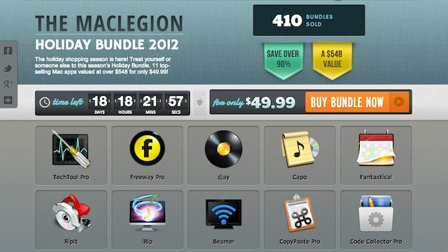 The MacLegion Holiday Bundle Offers Fantastical, CopyPaste Pro, TechTool Pro and More for $49.99