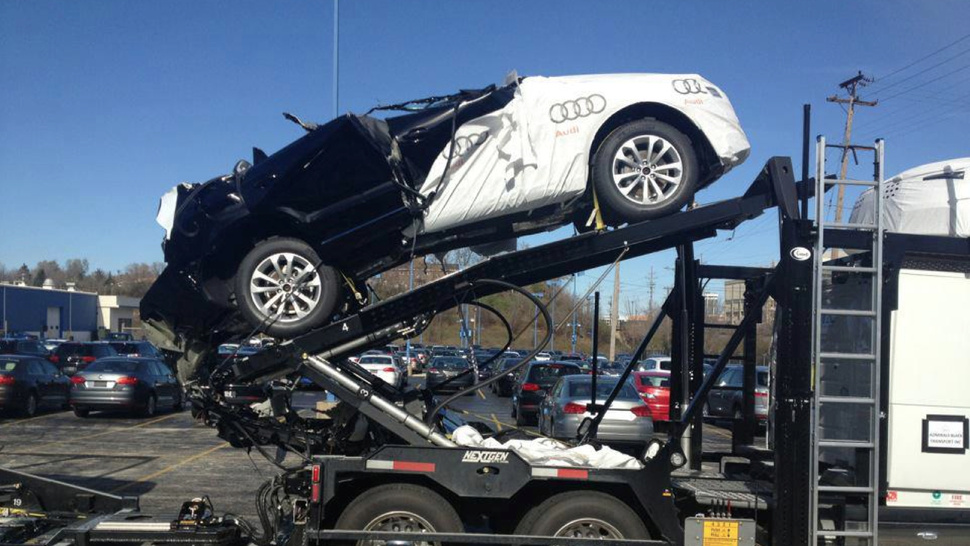 This Is What Happens When A Car Carrier Hits The Bottom Of A Bridge